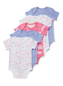 5 Pack Multicoloured Dinosaur Print Bodysuits