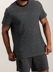 Charcoal Grey Stripe Top Jersey Short Pyjamas