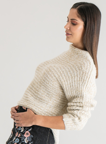 Premium Cream Lurex Funnel Neck Jumper