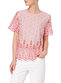 Red Floral Scalloped Trim Top