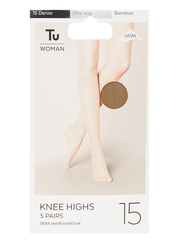 3a1c3f938 Womens Bamboo 15 Denier Knee Highs With Lycra 5 Pack (One Size) | Tu  clothing