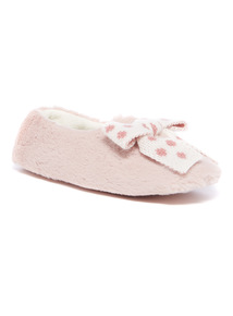 Faux Fur Full Slipper with Spot Bow