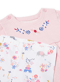 Pink Floral Embroidered Dress and Leggings Set (0-24 months)