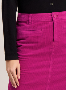 Bright Pink A-Line Corduroy Mini Skirt