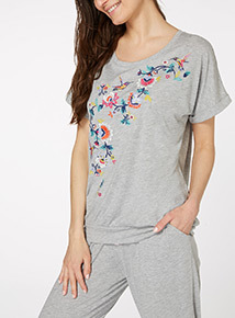 Grey Embroidered Tie Back Top