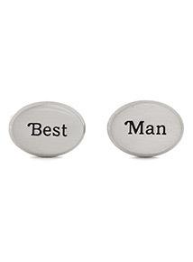 Online Exclusive Silver 'Best Man' Cufflinks