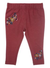 Pink Floral Embroidered Jegging (0-24 months)