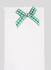 5 Pack Green Gingham and Heart Trim Socks (6 infant-5.5 adult)