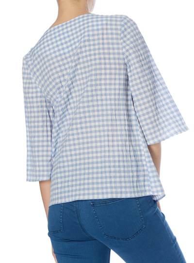 Blue Gingham Frill Top