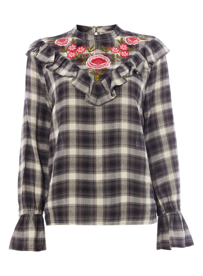 Grey Embroidered Check Blouse