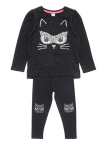 Black Halloween Cat Top and Legging Set (7-10 years)