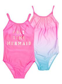 Pink 'Mermaid' Slogan Swimsuits 2 Pack (1 - 12 years)