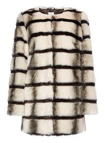 White Stripe Faux Fur Coat