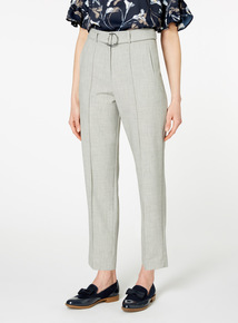 Grey Textured Self Tie Trousers