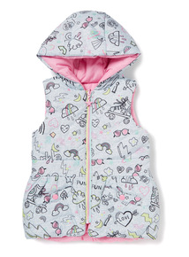 Multicoloured Printed Reversible Gilet (9 months-6 years)