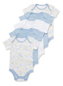 5 Pack Blue Spring Meadow Bodysuits (Newborn-36 months)