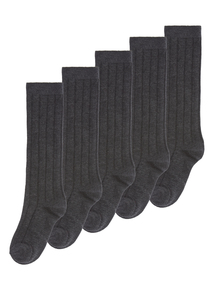Boys Grey Long Ribbed Socks 5 Pack