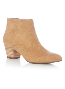 Tan Western Micro Ankle Boots