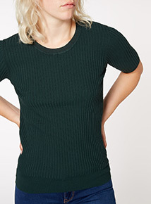 Dark Green Shine Trim Ribbed Tee