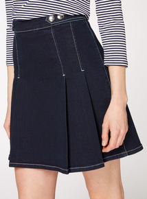 Dark Denim Pleated A Line Skirt