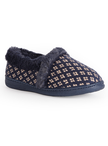 Navy Knitted Arch Support Slippers