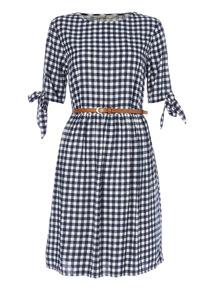 Navy Gingham Belted Dress