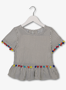 30c0cd6bb Multicoloured Stripe Pom-Pom Top (3-14 Years)