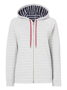 Grey Stripe Hooded Zip Through
