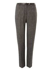 Black Belted Check Tapered Trousers