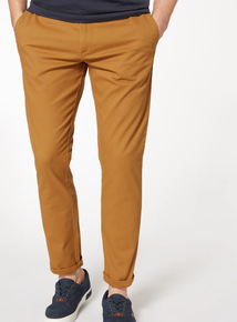 Tan Tapered Fit Chinos With Stretch
