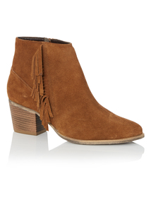 Tan Suede Fringe Ankle Boots