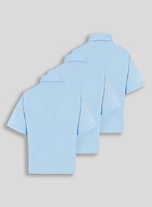 Girls Blue Woven School Shirts 3 Pack (3-12 years)
