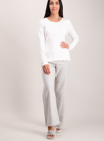 Cream and Grey Heart Design Henley Pyjamas