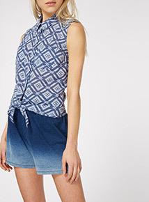 Blue Tie Front Shirt