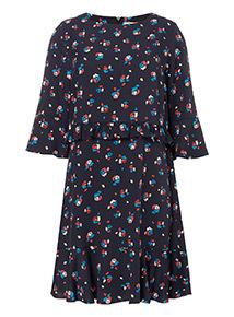 Floral Frill Waist Dress
