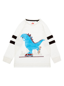 Boys White Dinosaur Skate Top (9 months - 6 years)