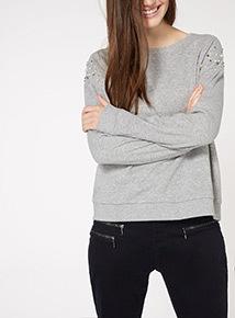 Grey Embellished Sleeve Sweater