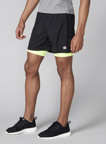 Admiral Black Woven Shorts With Neon Base Layer