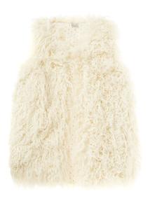 Girls Cream Shaggy Fur Gilet (3-12 years)