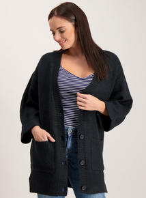 Navy Oversized Boyfriend Cardigan