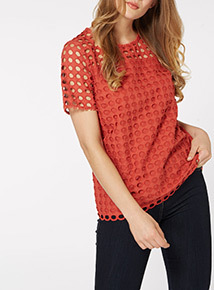 Red Broderie Tee