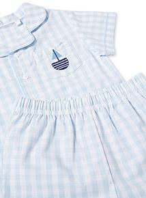 Blue Gingham Print Pyjamas (0-24 months)