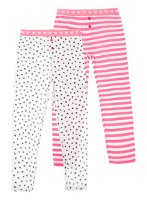 Two Pack Heart and Stripe Thermal Bottoms (3 - 14 years)