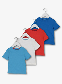 Multicoloured Short-Sleeved Plain T-Shirts 4 Pack (12 Months - 6 Years)