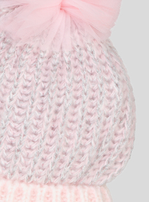 Pink Knitted Pom-Pom Beanie Hat (3 - 13 years)