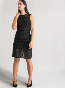 Premium Online Exclusive Black Lace Shift Dress