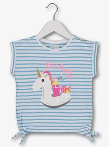 010584213fa650 Blue Striped Unicorn Pool Party T-Shirt (3-14 years)