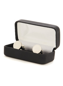 Online Exclusive Silver Circular Brushed Cufflinks