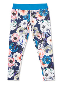 Multicoloured Floral Printed Dance Leggings (3-14 years)