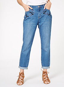 Mid Denim Distressed Boyfriend Jeans